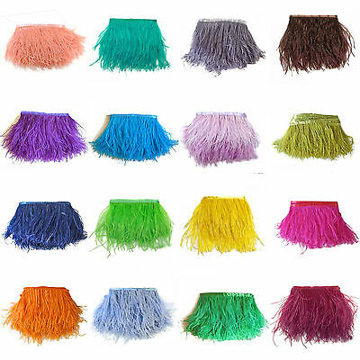 1/5/10Yards Ostrich Feather Quality Satin Ribbon Trimming Fringe 10-15cm/4-6""