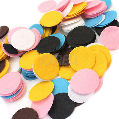 100Pcs 30mm Mixed Colors Die Cut Felt Circle Appliques Cardmaking DIY Craft
