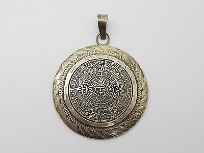 Mexico Sterling Silver Mayan Calendar Round Pendant 13.4g