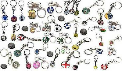 SHOPPING TROLLEY TOKEN £1 COIN KEYRING LOCKER TOKENS TROLLY KEYRING CHOOSE QUANt