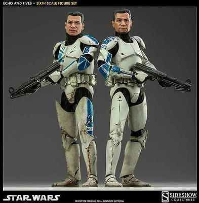 "Sideshow Star Wars Clone Troopers Echo And Fives 1/6 Scale 12"" Figure 100201 New"