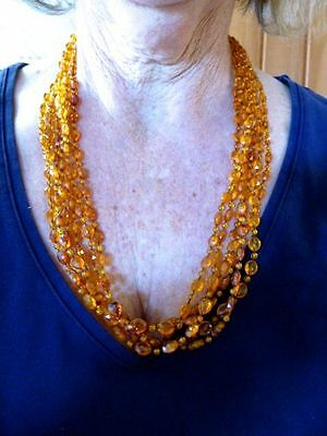 Gold Tone 1950's Rootbeer Multi Chain Lucite Necklace w/Earrings