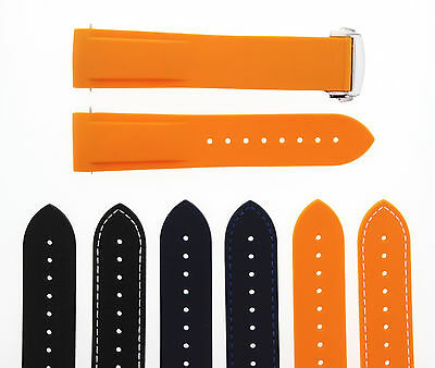 20-22Mm Rubber Diver Strap Band Omega Seamaster Planet Ocean Clasp Curved#45Dp