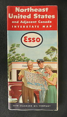 1953 Northeast United States road map  Esso gas oil adjacent Canada