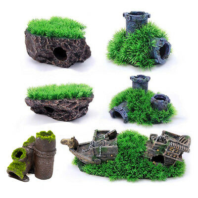 Grassy Hill Mound Pipe Boat Ornament Aquarium Fish Tank Decoration Features