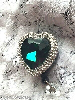 #JRJ2 GREEN HEART EMERALD CRYSTAL Badge ID Holder Reel Retractable TEACHER NURSE