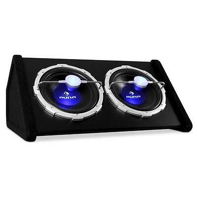 "2000W DOUBLE SUBWOOFER TWIN BASS 2x 12"" SPEAKER BOX LED"