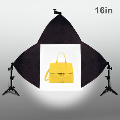 "Photo Studio 16"" Cube Lighting Photo Light Tent White Backdrop 3x Softbox Kit"