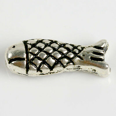 40 pcs Tibetan Silver Fish Shape Spacer Beads Finding Fashion Jewellery Gift