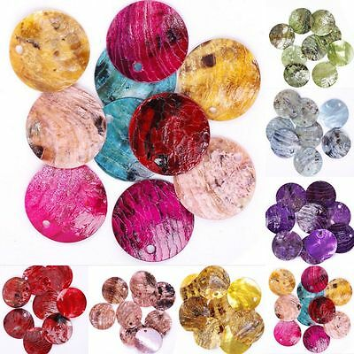 Wholesale 50x Iridescent Mussel Shell Flat Round Coin Drop Charm Thin Disc Beads