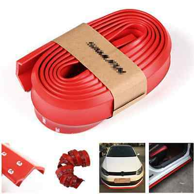 Universal 2.5 M Skirt Lips Protector Car Front Rear Bumper Spoiler Red Rubber