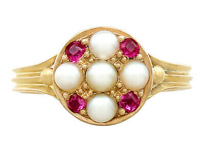 Pearl and 0.16ct Ruby, 18Carat Yellow Gold Dress Ring - Antique 1871