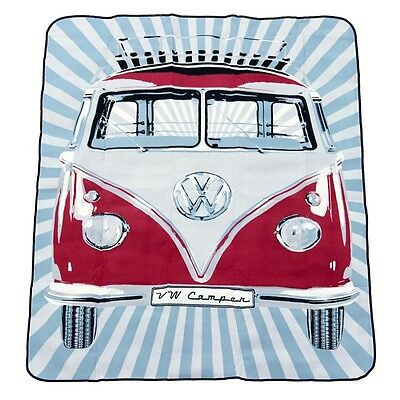 Official VW Camper Van Picnic Blanket  / Travel Rug with carrying bag - Red
