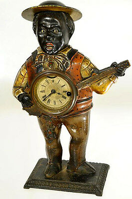 Antiker Augenwender-Figurenautomat, Waterbury Sambo Banjo Player Um 1867