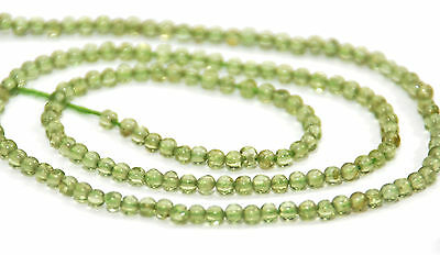 Half Strand Natural Peridot Tiny Round Beads, 3.5 Mm, Gemstone