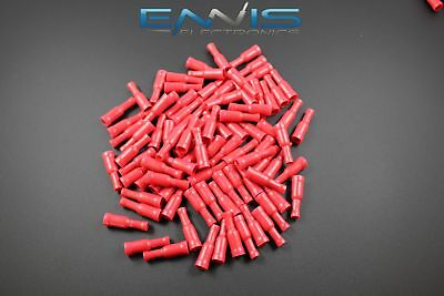 18-22 Gauge Vinyl Bullet Female Connector 50 Pk Red Crimp Terminal Awg Ga