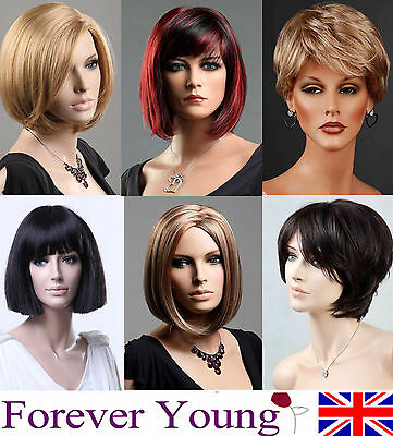 Ladies Short Wig Blonde Black Brown Wig Bob Curly Wedge Style Fashion Wig