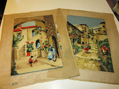 Pair 2 Vintage Finished Needlepoint Picture EUROPEAN TOWN STREET SCENES 17 x 12
