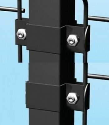 steel fixing bracket for square tubular post fence panel security collar clip