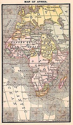 RARE Antique AFRICA Map of Africa 1885 RARE MINIATURE Vintage Map 2728