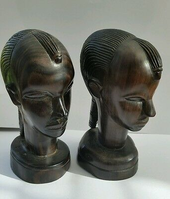 Two Antique African Acacia Woman's Heads Carved Sculptures c1840