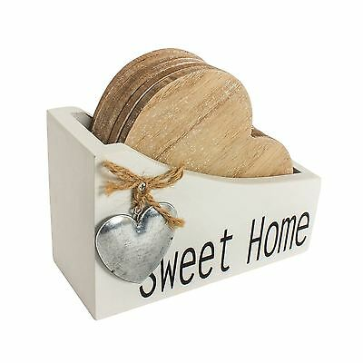 Shabby Chic Wooden Heart Shape Coaster Set with White Sweet Home Holder & Heart