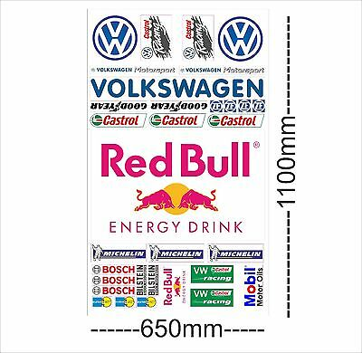 VW Logo Autoaufkleber Sponsoren Marken Aufkleber Decals Tuning Sticker Set XXL