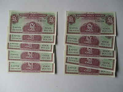 BRITISH ARMED FORCES £1 BANKNOTE 4th SERIES X 10 CONSECUTIVE NUMBERS