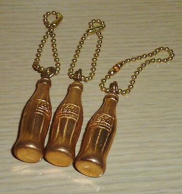 Lot of 3 ~ Miniature Coca-Cola Bottles ~ Brass Coke Keychains