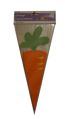20 x Easter Carrot Cone Shaped Cello Bags with twist ties