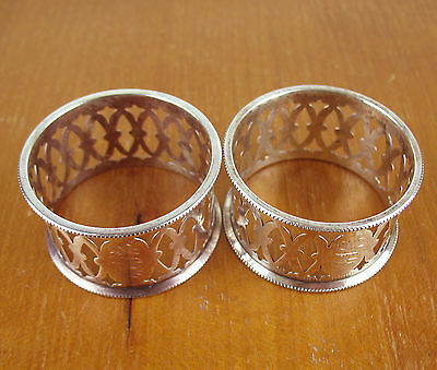 """2 x STERLING SILVER NAPKIN RINGS mono """"HBW&WHC"""" vintage filigree (1 is unmarked)"""