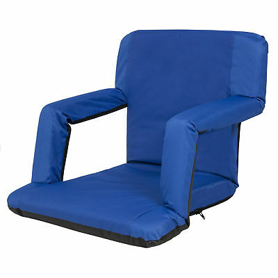 Portable Reclining Seat Padded Cushion Camping Chair Backpack Beach Chair Navy