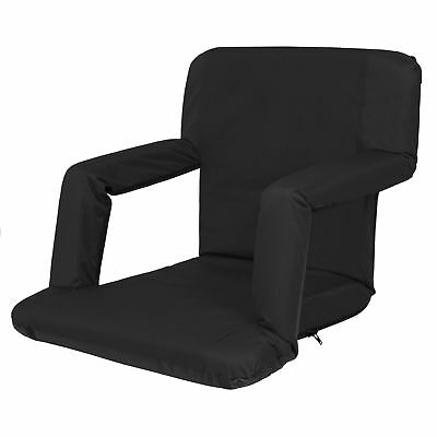 Portable Reclining Seat Padded Cushion Camping Chair Backpack Beach Chair Black