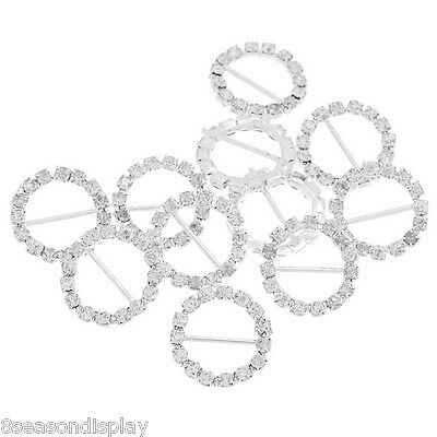 "50PCs Belt Fasteners Silver Plated rhinestone settting 20mm( 6/8"")"
