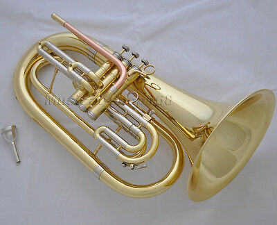 Professional gold Marching Baritone Horn cupronickel tuning pipe with case
