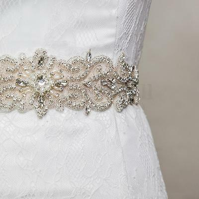 Vintage Handmade Crystal Rhinestones Wedding Dress Bridal Sash Belt 10 Color NEW