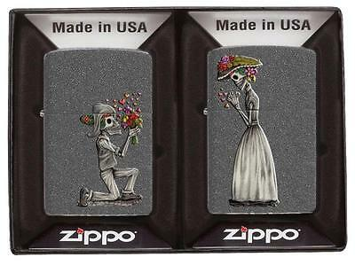 """2 ZIPPO SET """"DAY OF DEATH"""" IRON STONE COLOR LIGHTER / 60002305 * NEW in BOX *"""