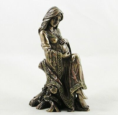 Pagan Earth Mother Pregnancy Figurine Wiccan Pregnant Woman Statue Bronzed - NEW