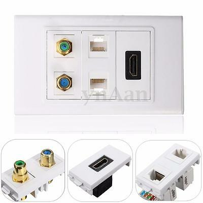 HDMI Outlet + AV RCA Coax F Type Dual RJ45 Ethernet Wall Plate Coupler Convertor