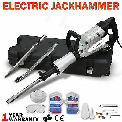 Max 2200W Electric Jackhammer Demolition Hammer Drill Concrete Breaker Chisels
