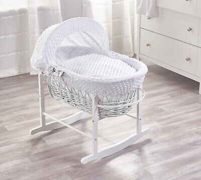 White Dimple White Wicker Moses Basket and White Rocking Stand