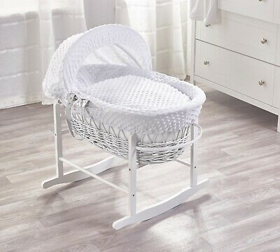 White Dimple White Wicker Moses Basket on Deluxe Rocking White Stand