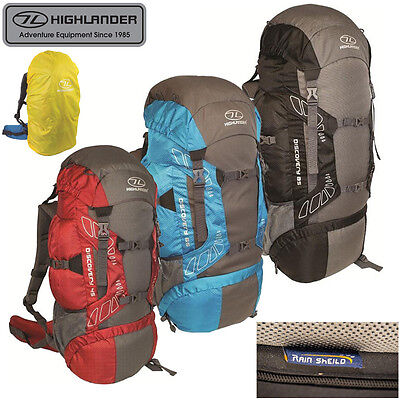 Highlander Discovery 45, 65, 85L Rucksack + Integrated Cover Hiking, Climbing