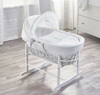 White Waffle With Bows White Wicker Moses Basket on Deluxe Rocking White Stand