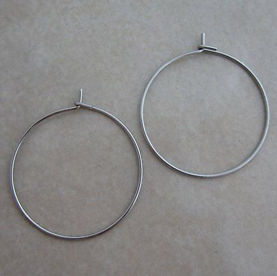 50 stainless steel earring wires or wine glass charm hoops 21 gauge 25mm