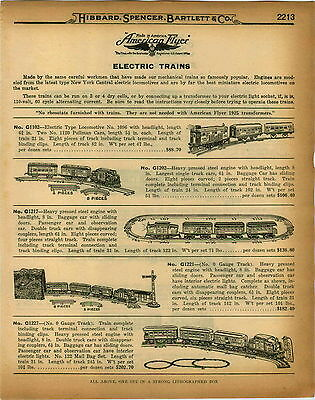 1926 PAPER AD 8 PG Mechanical & Electric Toy Train Sets American Flyer Cast Iron
