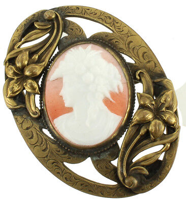 Antique Victorian Fancy Oval Engraved Cast Settings Glass Cameo 2 3/4""