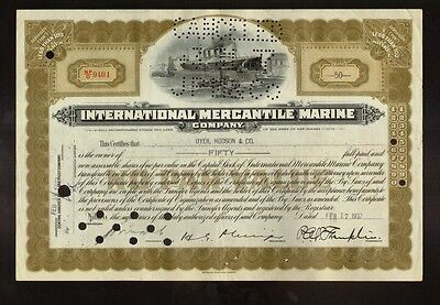 International Mercantile Marine 1937 (Titanic Owners ) iss to Dyer Hudson