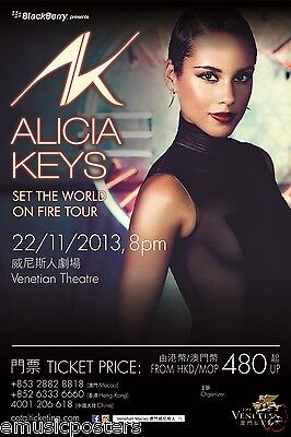"""Alicia Keys """"see The World On Fire Tour"""" 2013 Macao, China Concert Poster - R&b"""