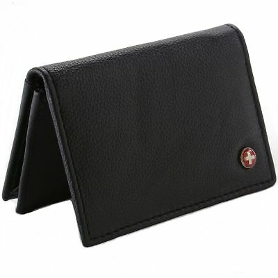 Alpine Swiss RFID Blocking Expandable Business Card Case Genuine Leather Wallet